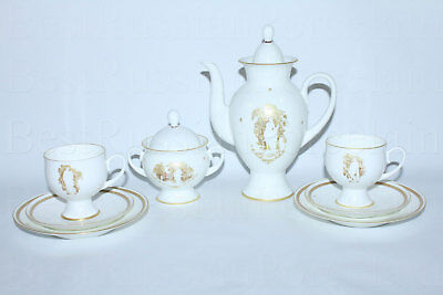 RUSSIAN Imperial Lomonosov Porcelain Coffee Set Muse of the Summer Garden 2/8