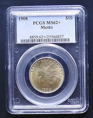 1908 Motto $10 Gold Indian Certified PCGS Uncirculated MS62+ PLUS