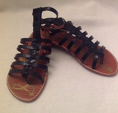 9e128d8e622068 SAM EDELMAN Gilda Black Boa Gladiator Sandals Size 9 M Strappy Thong Toe   110
