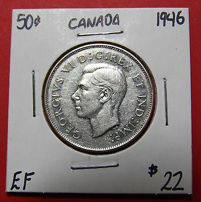 1946 Canada 50 Cent Silver Coin Fifty Half Dollar B721 - $22 EF