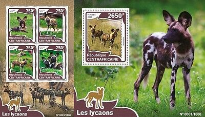 Z08 Imperforated CA16014ab CENTRAL AFRICA 2016 African wild dog MNH Set