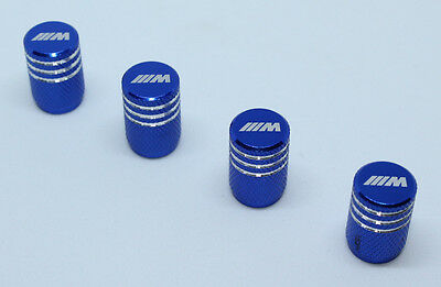 4x Valve Caps for BMW Aluminium Dust Caps for M-Series Brand New Blue Check