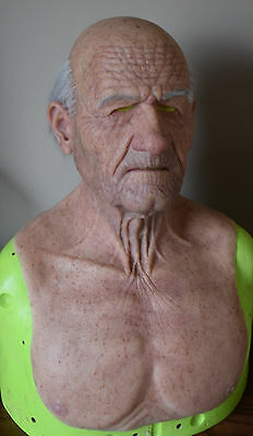 made to order realistic silicone old man mask with punched eyebrows and hair