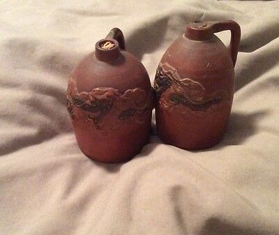 2 Tiny Antique Red Ware Chinese Jugs With Applied Dragon