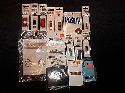 Lot Of 16 Collectible New Unused Military Ribbons Pins Buttons From The 1980's