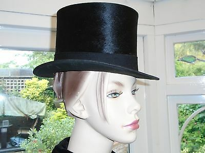 Vintage Black Silk Top Hat By Dunne & Co With Original Box