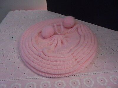 New Baby Infrant Girl French Beret Pink Knitted Cap Hat Adorable