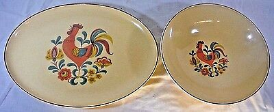 Vintage Reveille Rooster Platter Serving Bowl Taylor Smith Taylor Dutch 60s Farm
