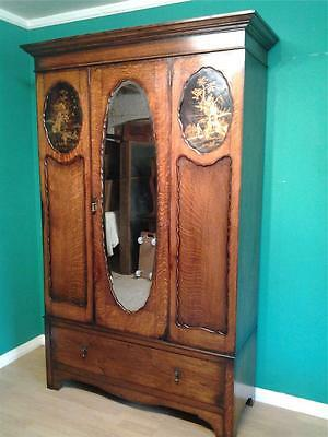 Vintage oak mirrored door wardrobe Chinoiserie lacquered panels