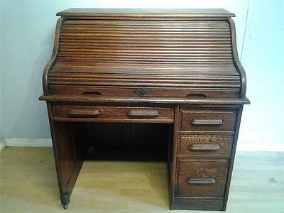 Antique oak  rolltop roll top office kneehole desk fitted interior