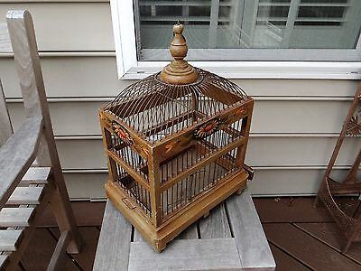 Beutifully Made and Painted Semi-Antique Birdcage - Wooden Frame & Metal Wire