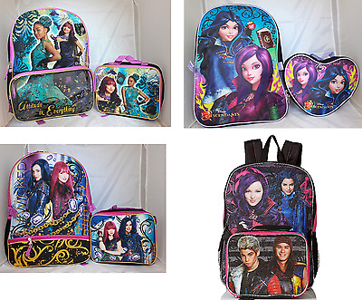 Descendants Girls School Backpack Lunch box Set Cartoon Book Bag Kids Children