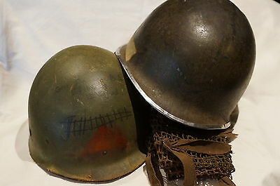 WW2 US M1 Helmet McCord Shell Front Seam Fixed Bale with Capac Liner & Net Cover