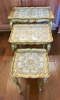 (3) Vintage TABLE SET Hollywood Regency italian stacking nesting florentine gold
