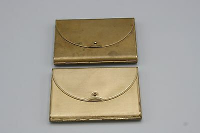 2 Coty Envelope Compacts One Without Mirror Gold Tone Rectangular