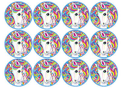 12 Unicorn Edible 4Cm Wafer Paper Cupcake Cup Cake Decoration Images Toppers