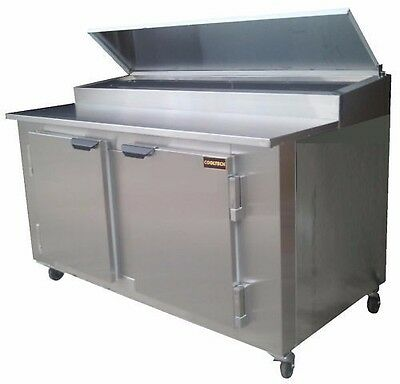 """Cooltech 2 large Door Refrigerated Pizza / sandwich Prep Table S.S Top 60"""""""