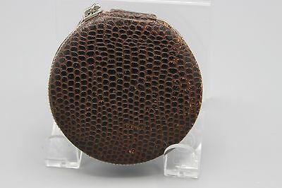 Vintage Zippered Leather Compact Brown Faux Snake No Puff