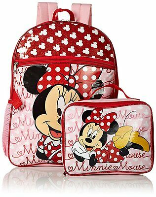 Disney Minnie Mouse Girls Cartoon Pink Red School Backpack Lunch Box Book Bag