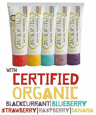 5 x Jack N' Jill Natural Children's Toothpaste 50g - Any 5 flavours!