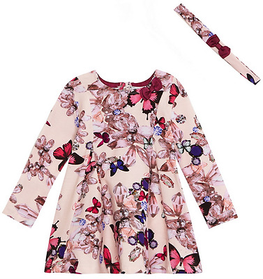 Ted Baker Baby Girls Light Pink Butterfly Rose Party Summer Dress 9-12 Months
