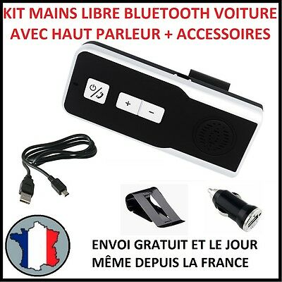 Kit Mains Libres 2 Bluetooth Sans Fil Voiture Universel Car Pare Soleil Phone