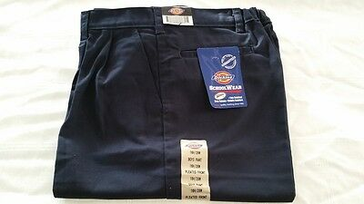 Boys Dickie School Uniform Pants Blue Polyester Blend All Season Pleated 16 29
