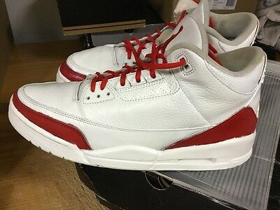 cfebe0974d2 Nike Air Jordan 3 III White RedCustoms Sz 12 From 2001 Free Ship W OG BOX