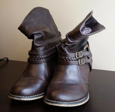 Cherokee Faux Leather Brown Ankle Boot Size 6 M