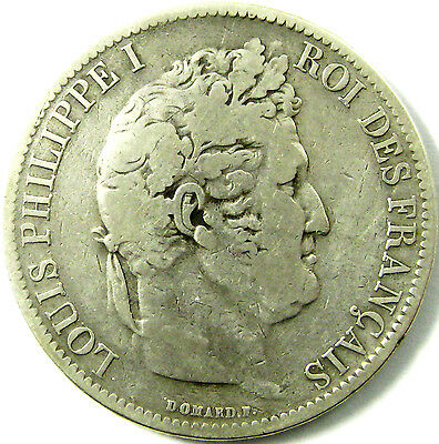 1831-W France  5 Francs  Km# 735.13  Silver  A Fine Coin