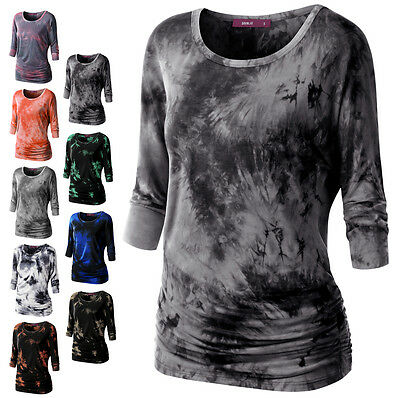 [FINAL SALE] Doublju Womens 3/4 Sleeve Round Neck Loose Fit Tie Dye T-Shirts