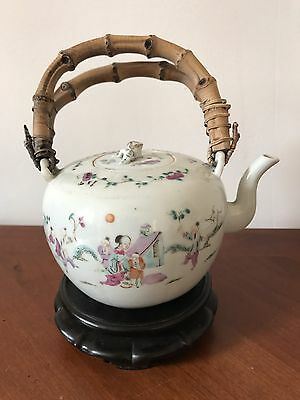 Antique Chinese Porcelain Famille Rose Figural Teapot