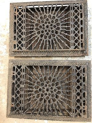 """Pair of Old Vintage Grate Register Vent  Diffuser, Heat Air Cast Iron ~12"""" by 8"""""""