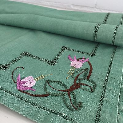 Green HAND Embroidered VINTAGE Linen Antique TABLECLOTH 50'S KITCHEN