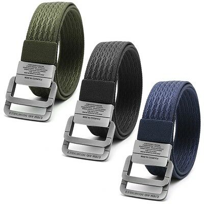 Men's Canvas Belt Double Ring Buckle Military Nylon Waistband Outdoors sports