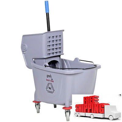 Commercial Wet Mop Bucket and Wringer Combo 36 Quart - Gray - Janitorial NEW