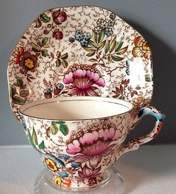 James Kent Old Foley Floral Chintz Tea Cup & Saucer Staffordshire 458