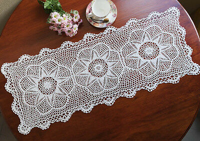 Cotton Lace Hand Crochet Crocheted Doily Placemat Table Runner 36x90CM White