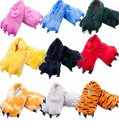 Men&Women's Pajamas Slippers Paw Claw Animal Warm Cartoon Cosplay Home Shoes