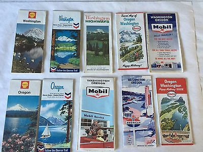 Lot of 10 Vintage WASHINGTON OREGON GAS & OIL State Road Maps 1960's 70's
