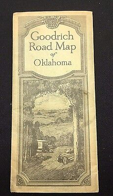 Really Old Vintage Goodrich Tires Road Map Of Oklahoma - Fold Out - With Ad