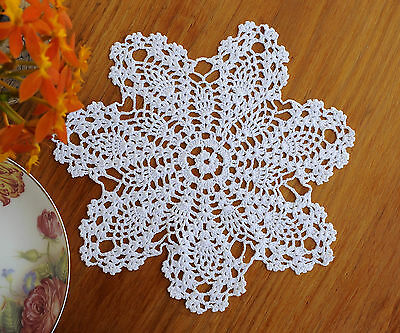 Fine Yarn Cotton Hand Crochet Doily Crocheted Pineapple Lace Round 20CM White