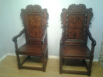 Superb pair Carolean style inlaid oak wainscot chairs Baronial armchairs