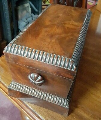 William IV flame mahogany wooden tea caddy for restoration.