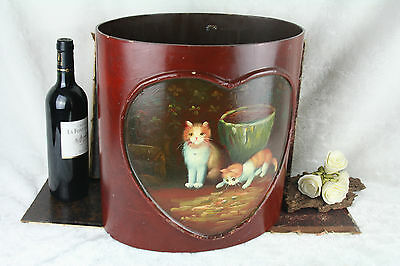 1970's Vintage umbrella stand holder hand painted cats kittens wood pressed