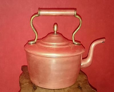 Antique / Vintage / Old Copper Kettle with brass trim