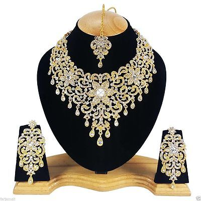 Indian Jewellery Set Delicate Style Gold Plated Clear Stones New Aq-312