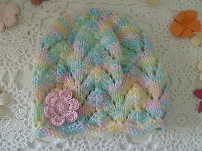 Baby girl hand-knitted lacy hat w crochet flower, acrylic, fits 3 -6 mths