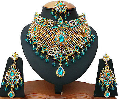 Indian Bridal Jewellery Set Turquoise Clear Stones Gold Plated New - Aq/58