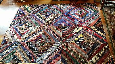 Vintage Antique 40s 50s silk Neck tie crazy quilt great condition blanket